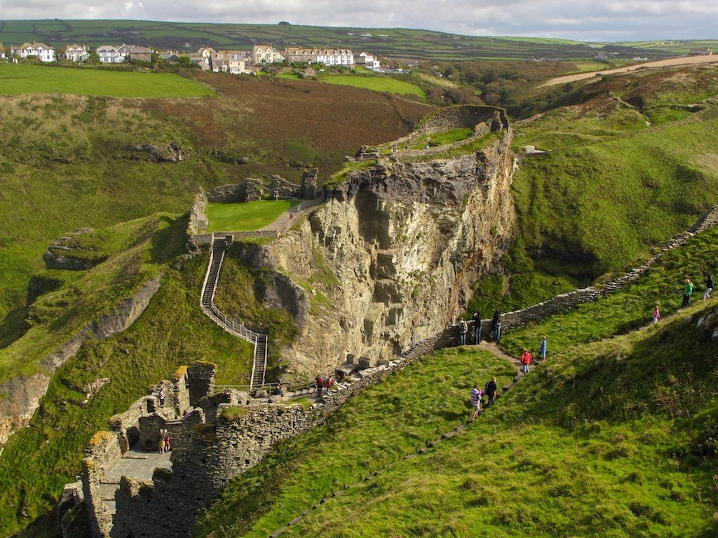 The ruins of Tintagel Castle. Not only was Arthur conceived here, according to legend, but you'll also find a grotto here that is said to be Merlin's cave.