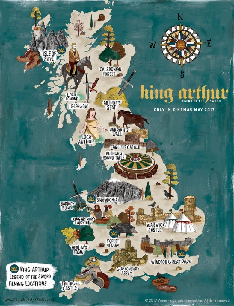 map of King Arthur legendary locations