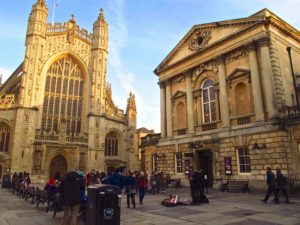 The courtyard of Bath Abbey, a landmark in Jane Austen's Bath, England.