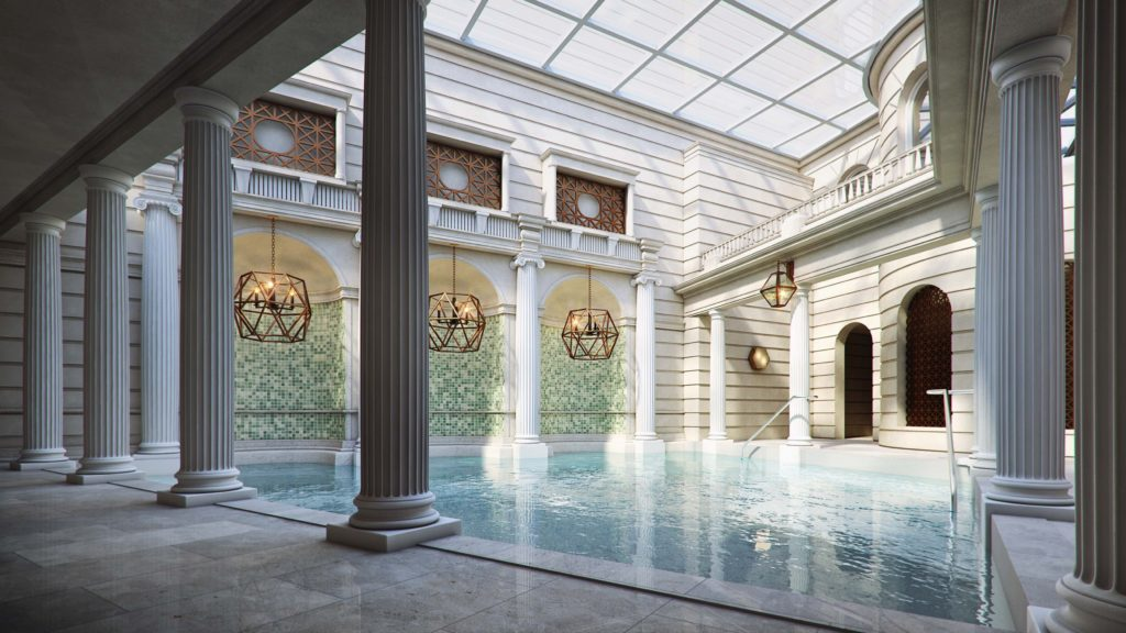 The spa at The Gainsborough Bath Spa features natural thermal waters from the ancient Hetling Spring in Bath, England.