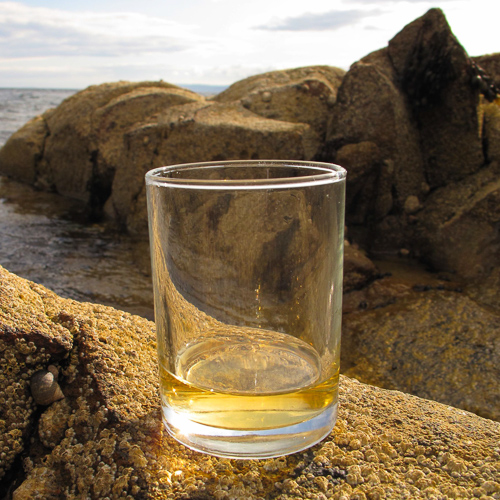 glass of whisky on the rocks by the sea