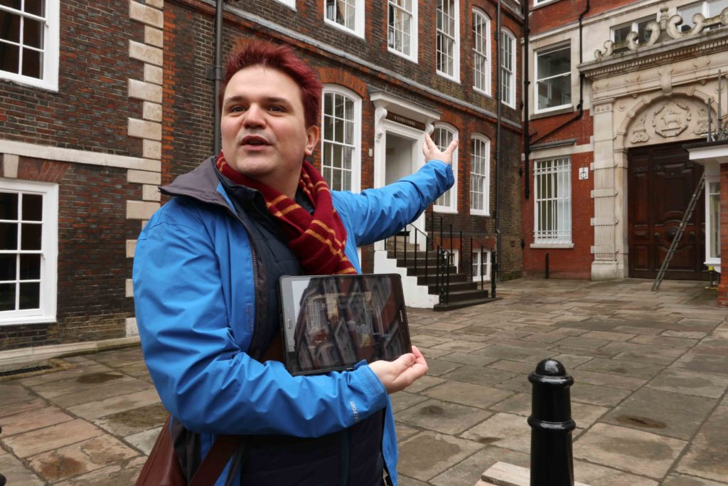 "BritMovieTours guide Dewi Evans offers walking tours of ""The Crown"" film locations in London. Here, he motions toward 4 Essex Court in Middle Temple, which stood in for the entrance to Lord Altrincham's office in the Season Two episode ""Marionettes."" © Amy Laughinghouse"