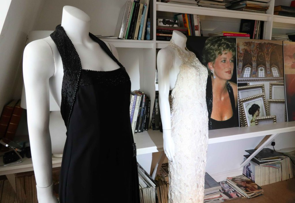 "Two of Princess Diana's original dresses adorn mannequins in the London atelier of Catherine Walker, one of Diana's favorite designers. ""There's something special about the relationship between a woman and a dress,"" says Said Cyrus, who founded the label with his late wife Catherine in 1977. Copyright Amy Laughinghouse"