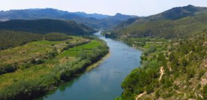 The Ebro River valley stretches out below the village of Miravet in Catalunya, Spain. Copyright Amy Laughinghouse