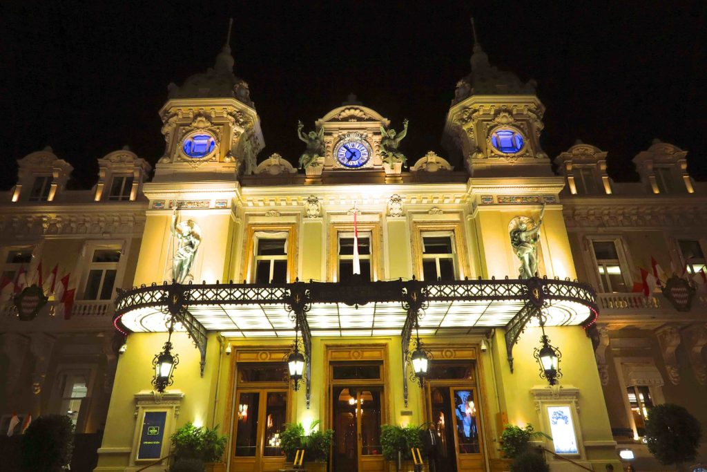 Monte-Carlo Monaco casino by night. Copyright Amy Laughinghouse