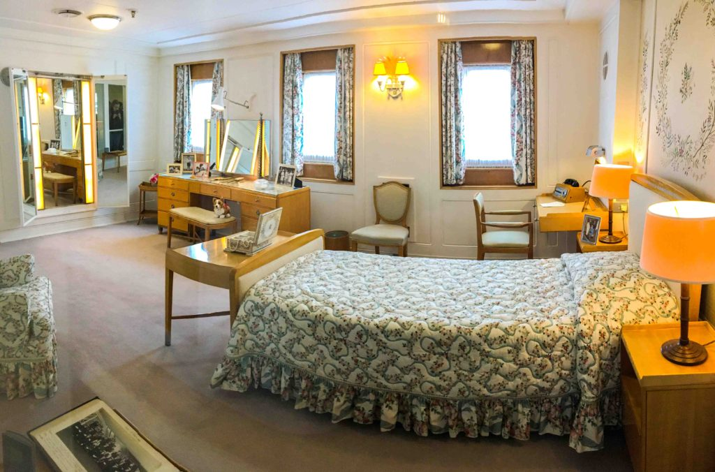 The Queen's bedroom on The Royal Yacht Britannia features a single bed with hand-me-down linens from a previous royal yacht, the HMY Victoria & Albert III. She didn't want the yacht to be too ostentatious, particularly as it was commissioned in an era of post-war austerity. © Amy Laughinghouse