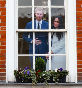 A cardboard cutout of Prince Harry and Meghan Markle in Windsor. copyright Amy Laughinghouse