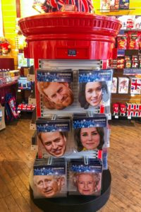 A shop near Windsor Castle displays paper masks of the royal family, including Prince Harry's betrothed, Meghan Markle. © Amy Laughinghouse