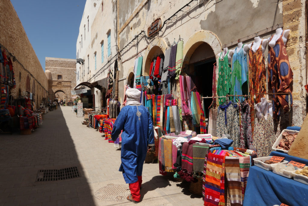Shops line the Skala de la Kasbah in Essaouira's medina. Copyright Amy Laughinghouse.