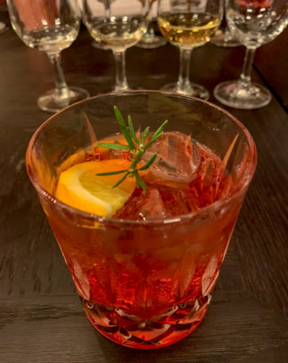 whisky cocktail with rosemary sprig